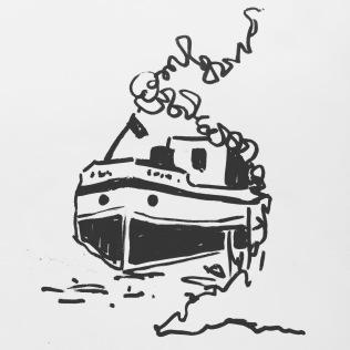 Sketch. USK. Ronquières. Péniche noir et blanc
