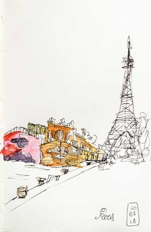 Paris, tour Eiffel et péniche