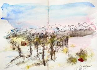 Vue des montagnes et des villas depuis notre hotel à Beitostolen, Norvège