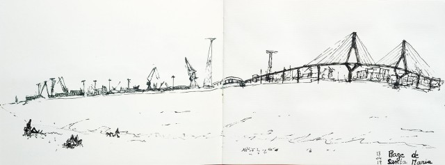 Cadiz, vue de la plage de Santa Maria