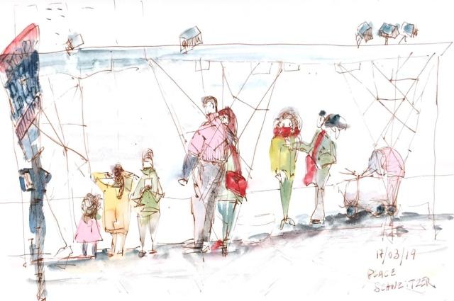Croquis d'un groupe de personnes attendant le bus à l'arrêt place Schweizer.