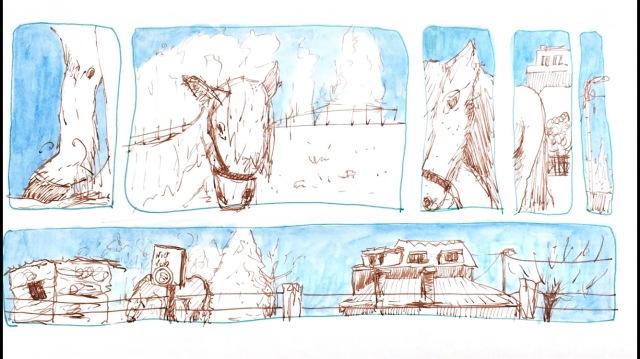 Rencontre avec un cheval à Dilbeek. Croquis encre sépia et crayon bleu.