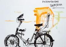 Vélo devant le restaurant Bonjour à Amsterdam au moment des températures tropicales de juillet 2019. Dessin au marqueur noir. 10e symposium des Urban Sketchers à Amsterdam.