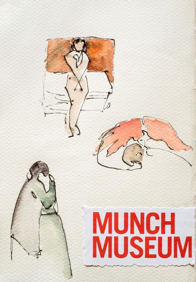 Croquis de tableaux de Munch, au musée Munch à Oslo, Norvège