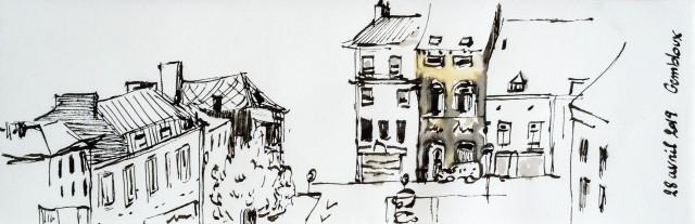 Sketch en noir et blanc, rotring, encre délébile. Gembloux